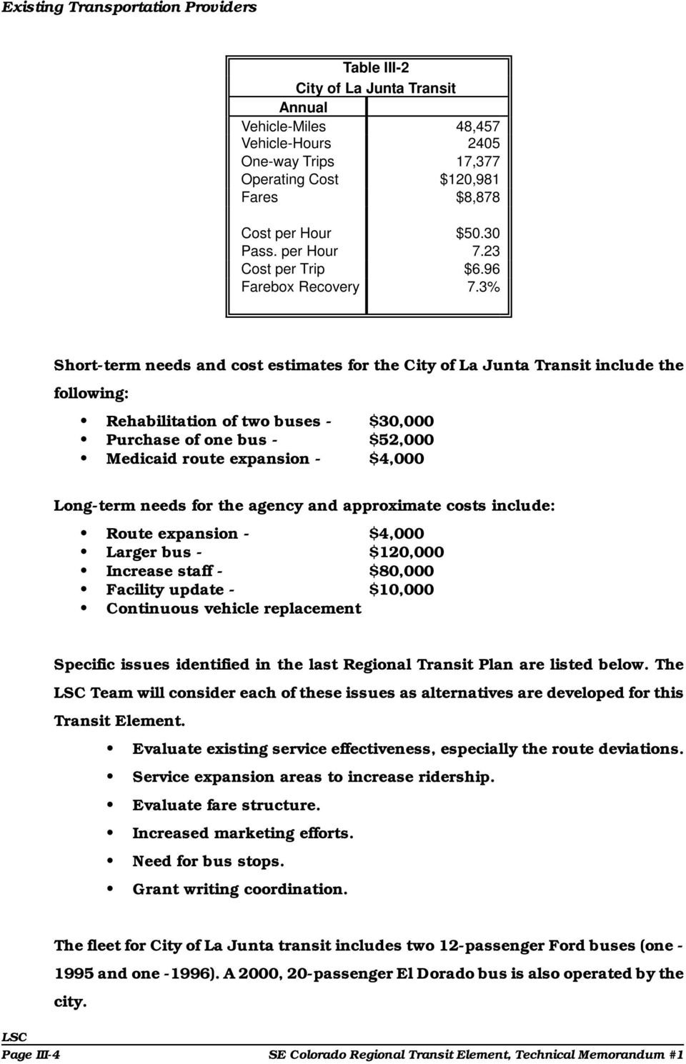 3% Short-term needs and cost estimates for the City of La Junta Transit include the following: Rehabilitation of two buses - $30,000 Purchase of one bus - $52,000 Medicaid route expansion - $4,000