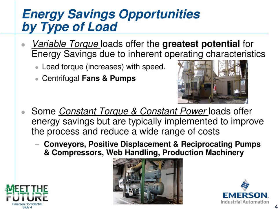 Centrifugal Fans & Pumps Some Constant Torque & Constant Power loads offer energy savings but are typically implemented
