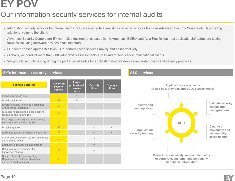 Advanced Security Centers are EY-controlled environments based in the Americas, EEIA and Asia-Pacific that host application/infrastructure testing facilities including hardware devices and simulators.