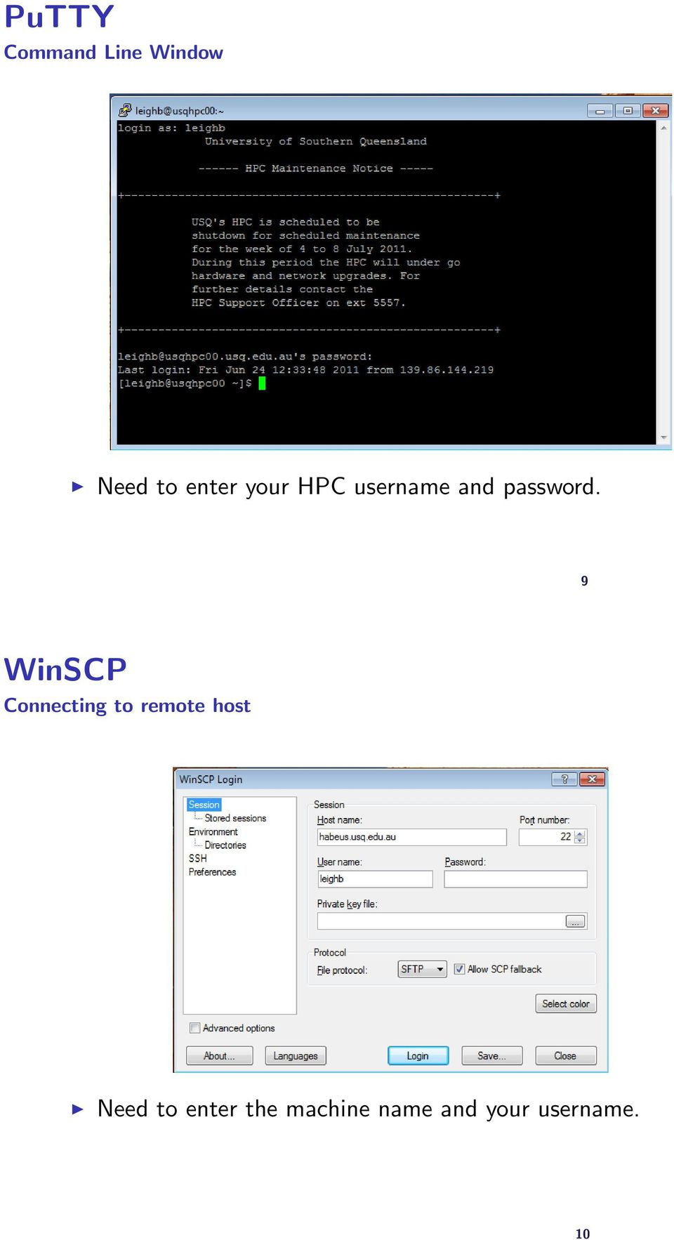 9 WinSCP Connecting to remote host Need