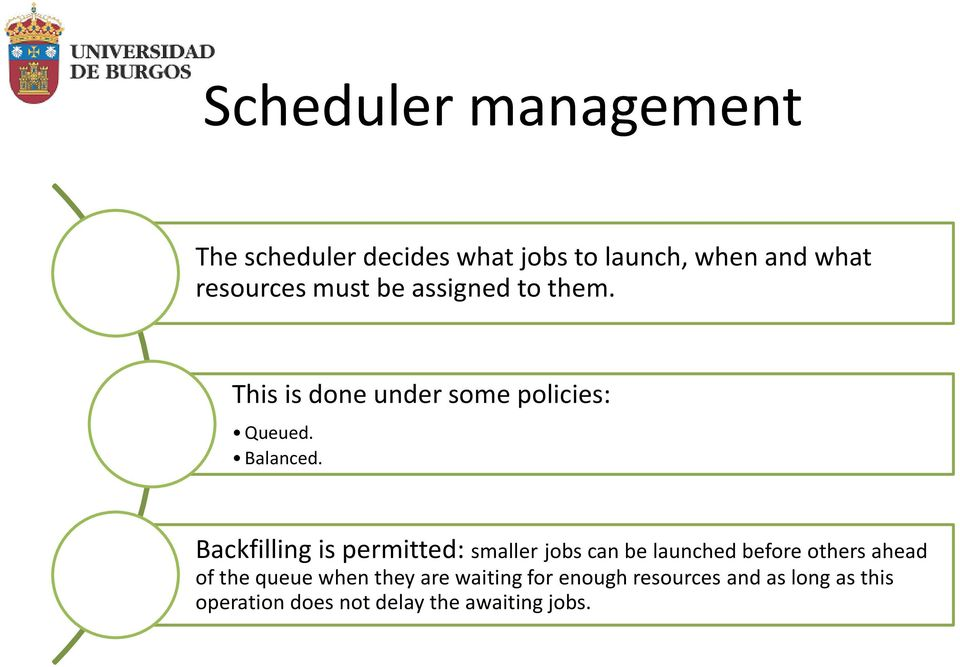 Backfilling is permitted: smaller jobs can be launched before others ahead of the queue