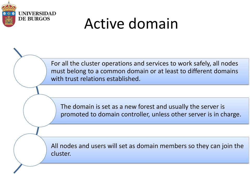 The domain is set as a new forest and usually the server is promoted to domain controller,