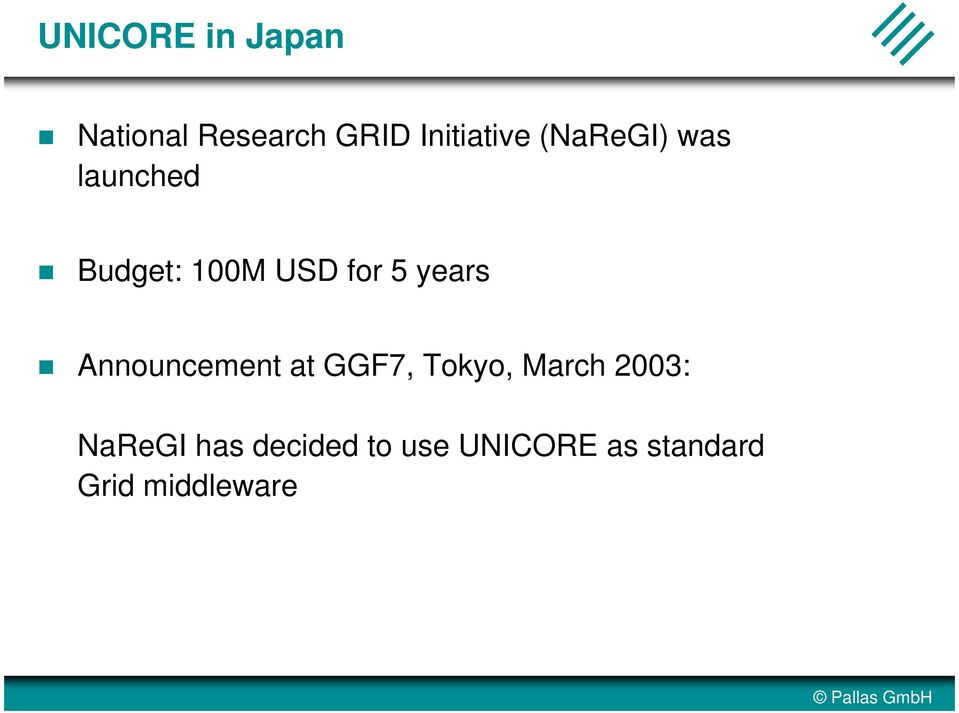 Announcement at GGF7, Tokyo, March 2003: NaReGI