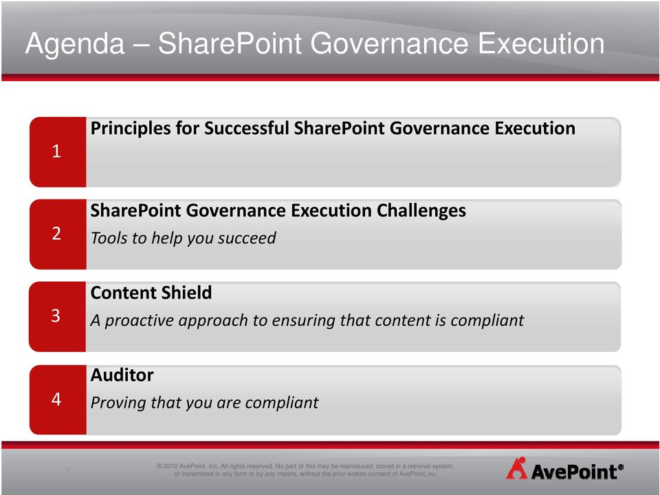 Challenges Tools to help you succeed 3 Content Shield A proactive