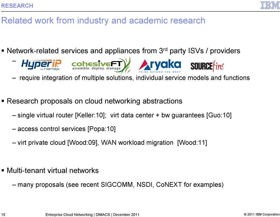 [Keller:10]; virt data center + bw guarantees [Guo:10] access control services [Popa:10] virt private cloud [Wood:09], WAN workload migration