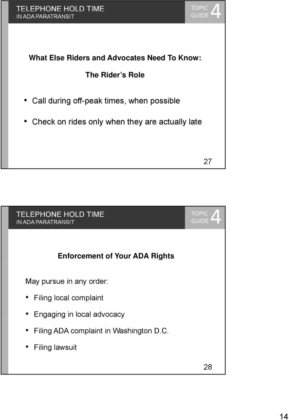 TELEPHONE HOLD TIME Enforcement of Your ADA Rights May pursue in any order: Filing local