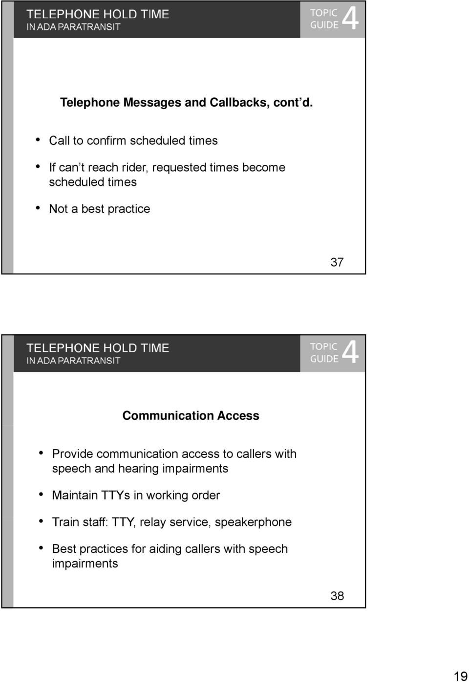 practice 37 TELEPHONE HOLD TIME Communication Access Provide communication access to callers with speech and