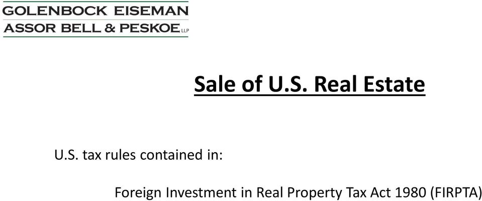 Foreign Investment in Real