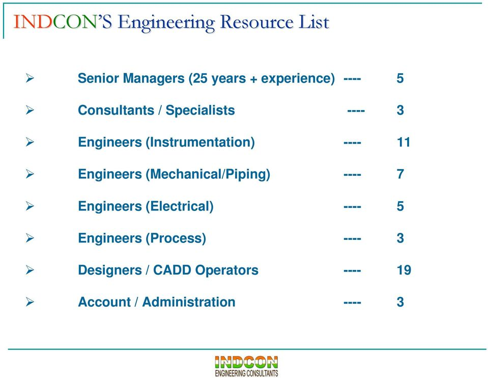 Engineers (Mechanical/Piping) ---- 7 Engineers (Electrical) ---- 5 Engineers