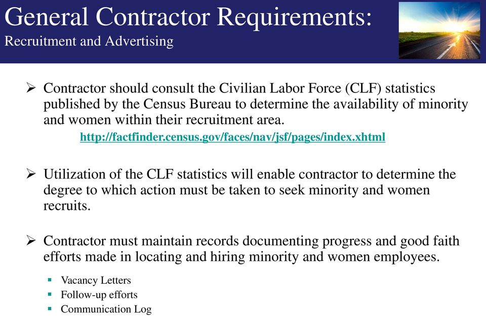 xhtml Utilization of the CLF statistics will enable contractor to determine the degree to which action must be taken to seek minority and women recruits.