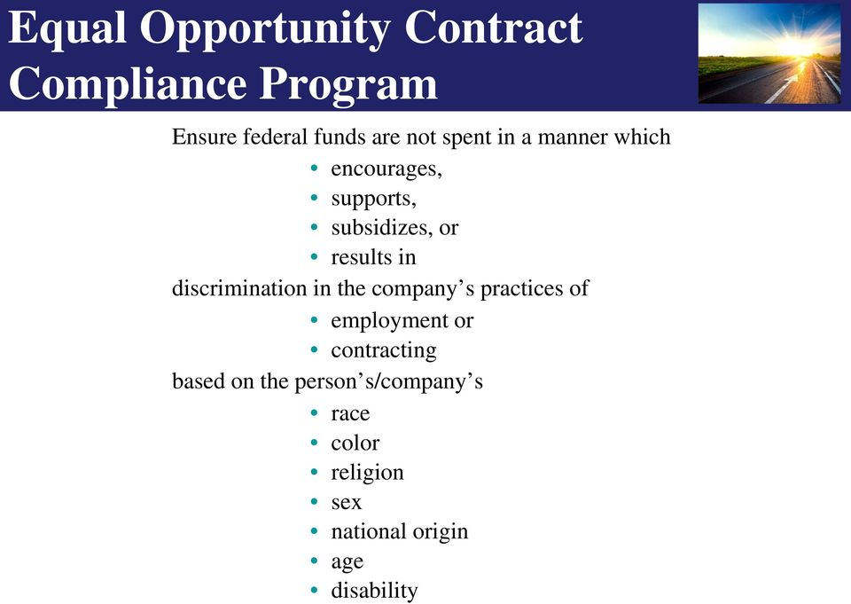 discrimination in the company s practices of employment or contracting