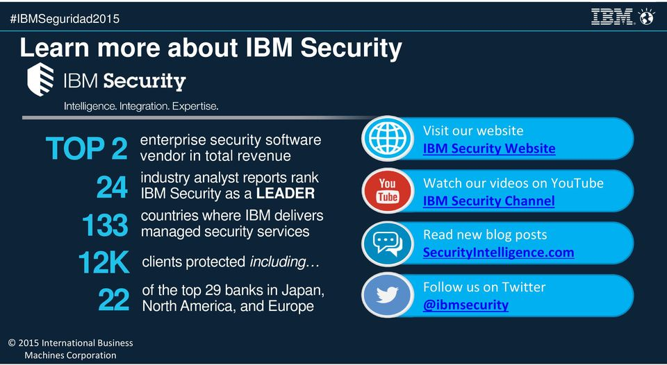 protected including of the top 29 banks in Japan, North America, and Europe Visit our website IBM Security Website