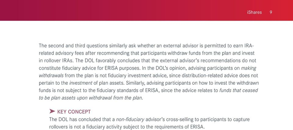 In the DOL s opinion, advising participants on making withdrawals from the plan is not fiduciary investment advice, since distribution-related advice does not pertain to the investment of plan assets.