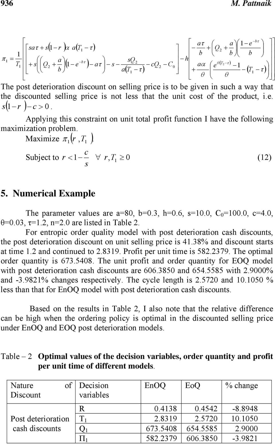 discounted selling price is not less that the unit cost of the product, i.e. s r c >. ( Applying this constraint on unit total profit function I have the following maximization problem.
