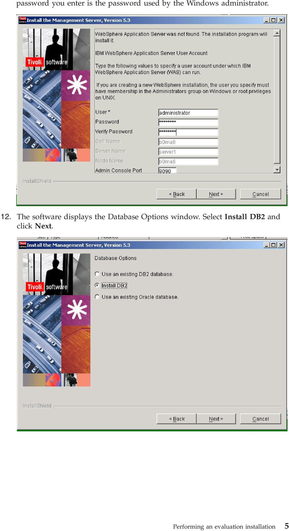 The software displays the Database Options window.