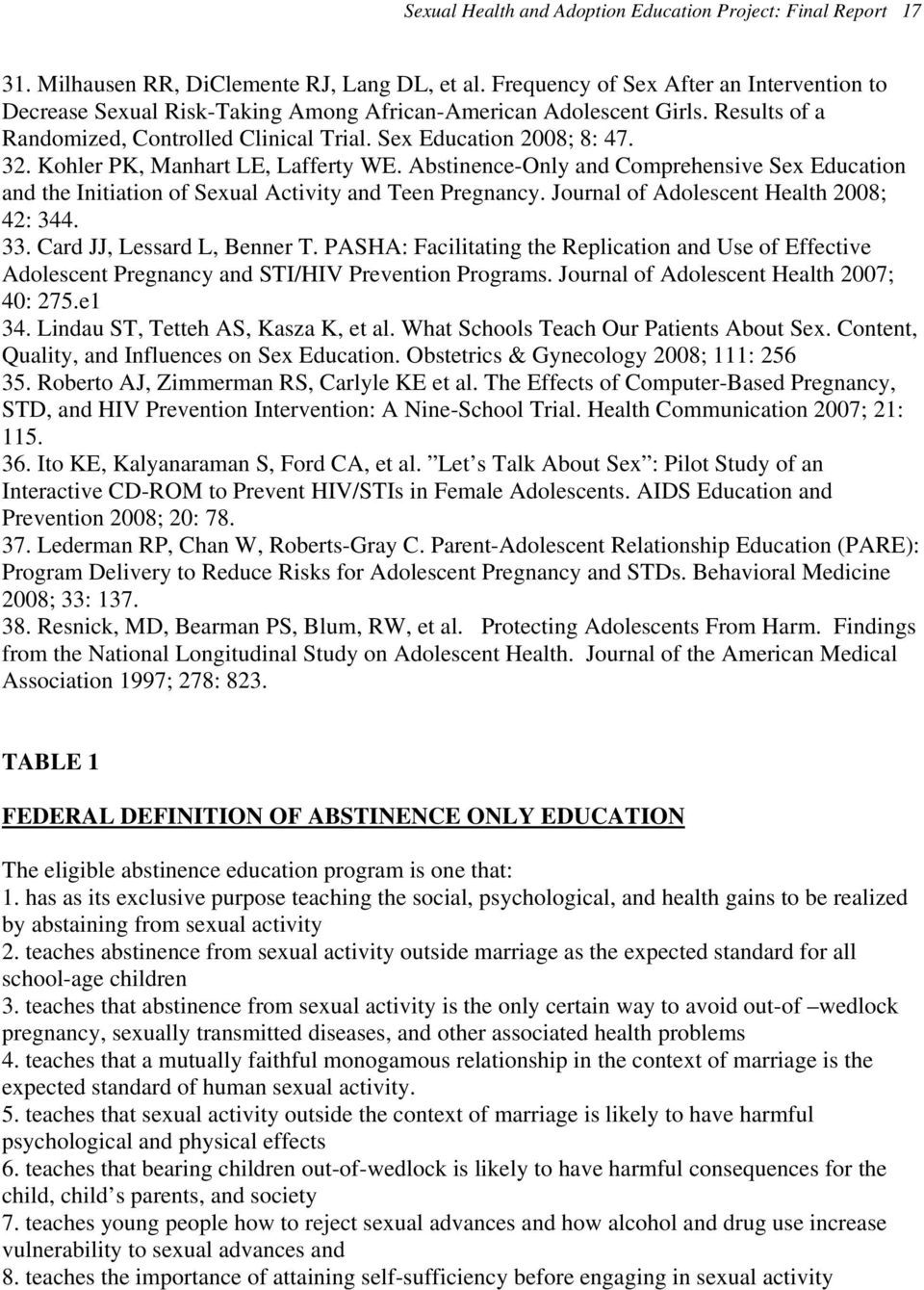 Kohler PK, Manhart LE, Lafferty WE. Abstinence-Only and Comprehensive Sex Education and the Initiation of Sexual Activity and Teen Pregnancy. Journal of Adolescent Health 2008; 42: 344. 33.