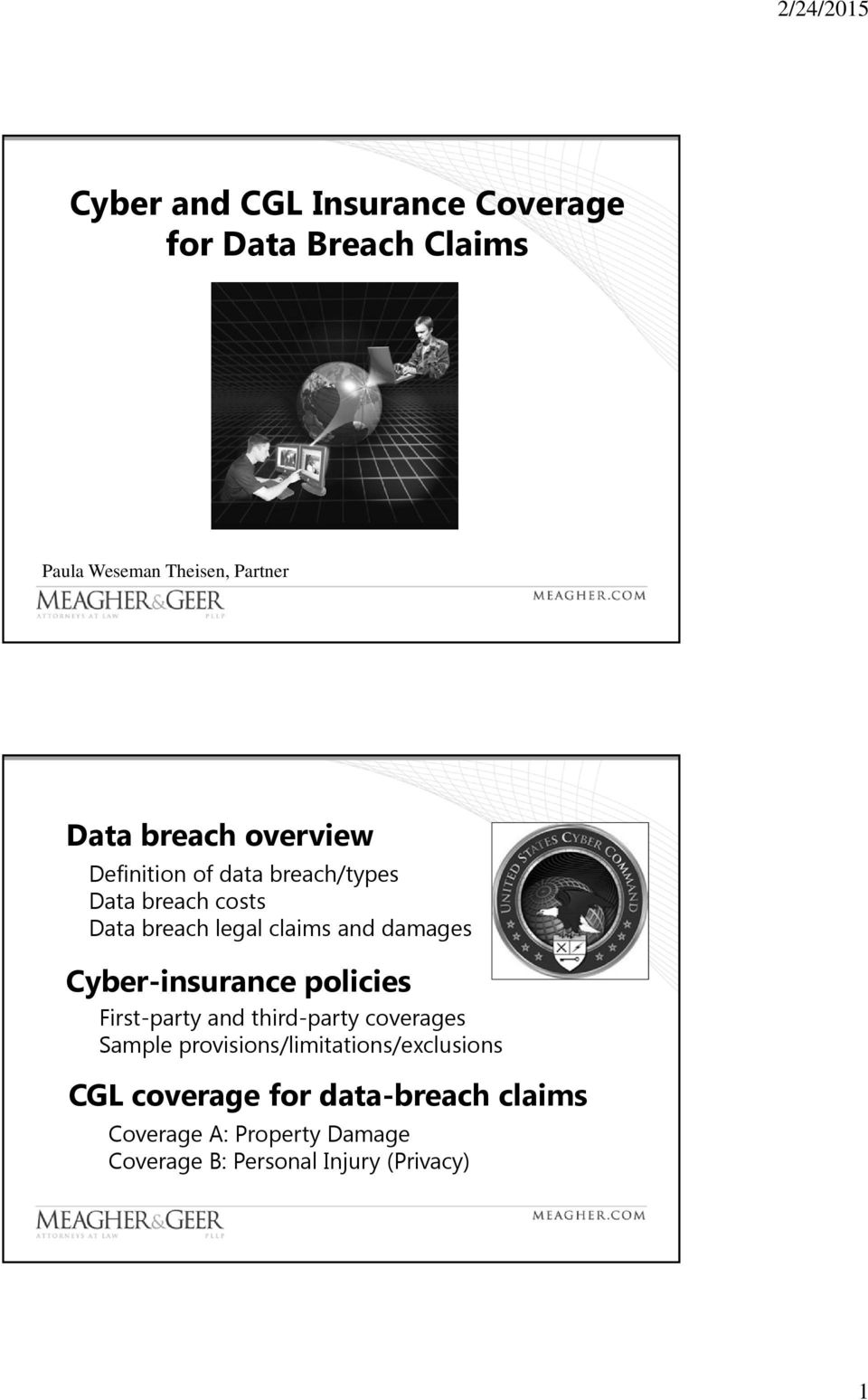 Cyber-insurance policies First-party and third-party coverages Sample