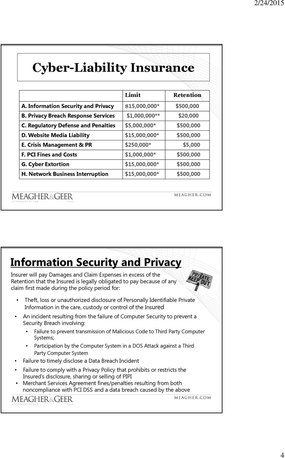 Cyber Extortion $15,000,000* $500,000 H.