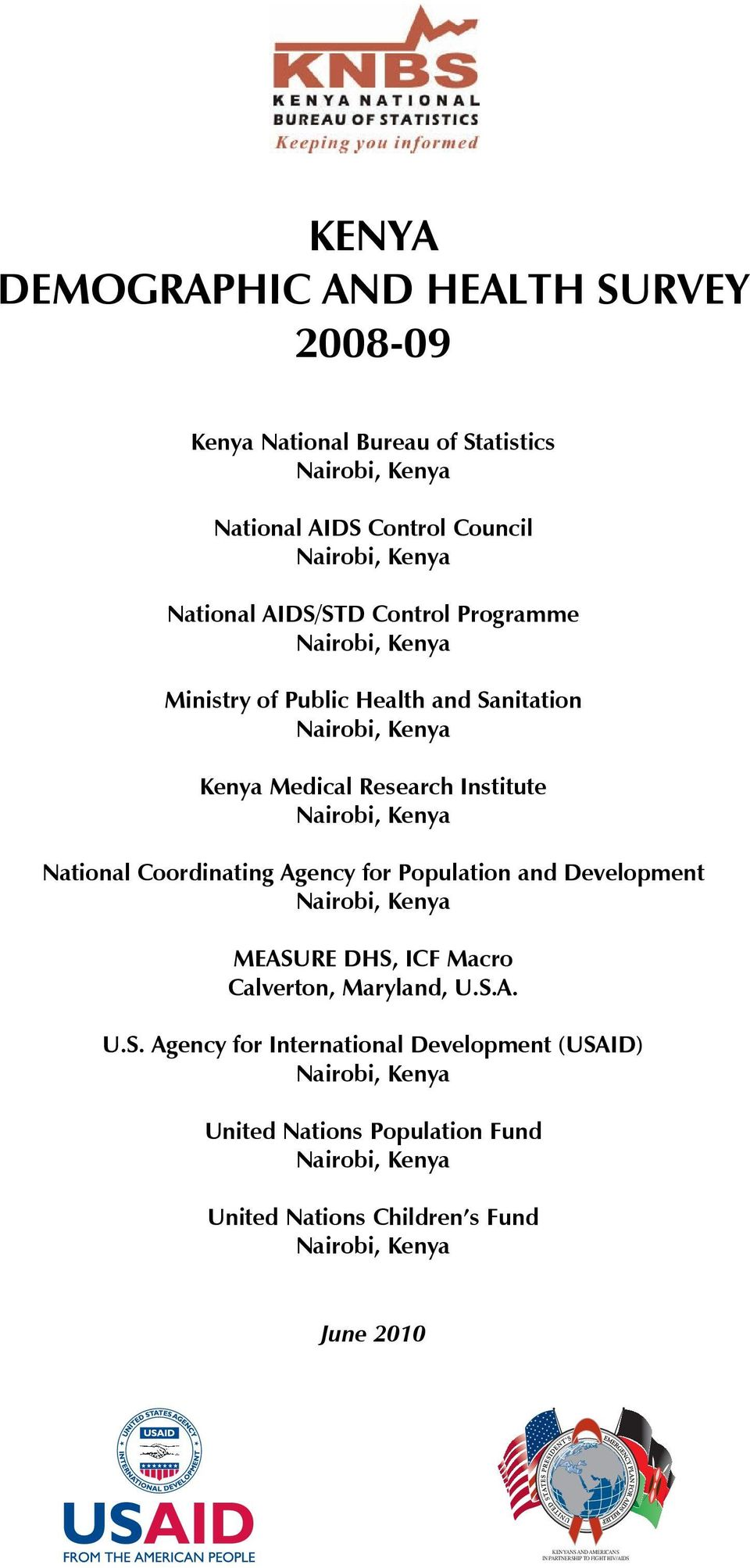 Agency for Population and Development Nairobi, Kenya MEASU