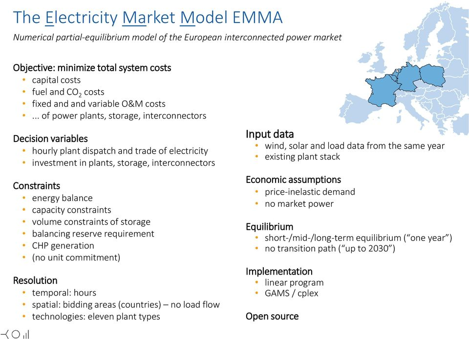 .. of power plants, storage, interconnectors Decision variables hourly plant dispatch and trade of electricity investment in plants, storage, interconnectors Constraints energy balance capacity
