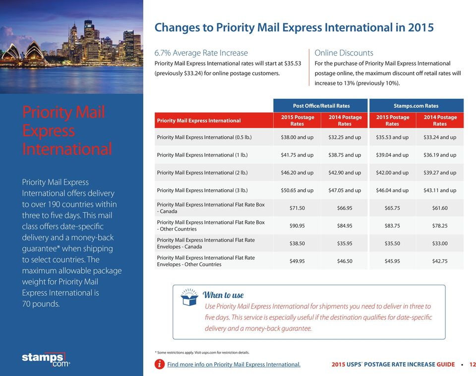 Priority Mail Express International Priority Mail Express International offers delivery to over 190 countries within three to five days.
