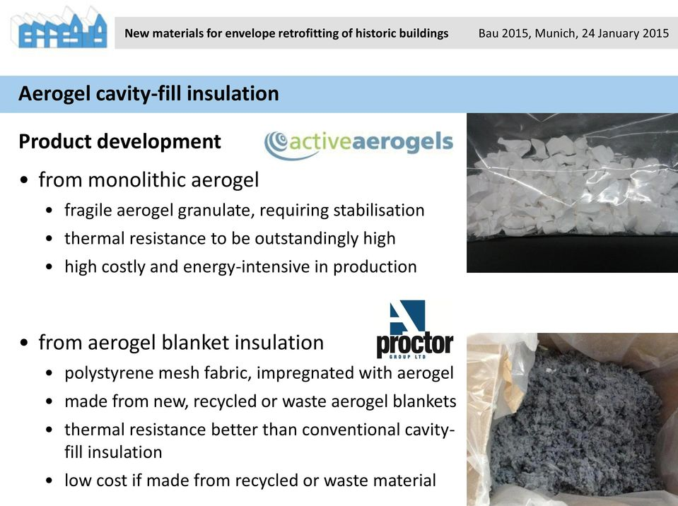 aerogel blanket insulation polystyrene mesh fabric, impregnated with aerogel made from new, recycled or waste