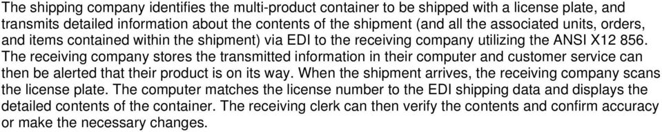 The receiving company stores the transmitted information in their computer and customer service can then be alerted that their product is on its way.