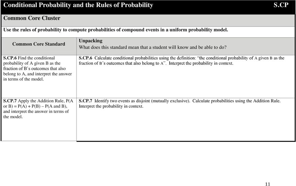 6 Find the conditional probability of A given B as the fraction of B s outcomes that also belong to A, and interpret the answer in terms of the model. S.CP.