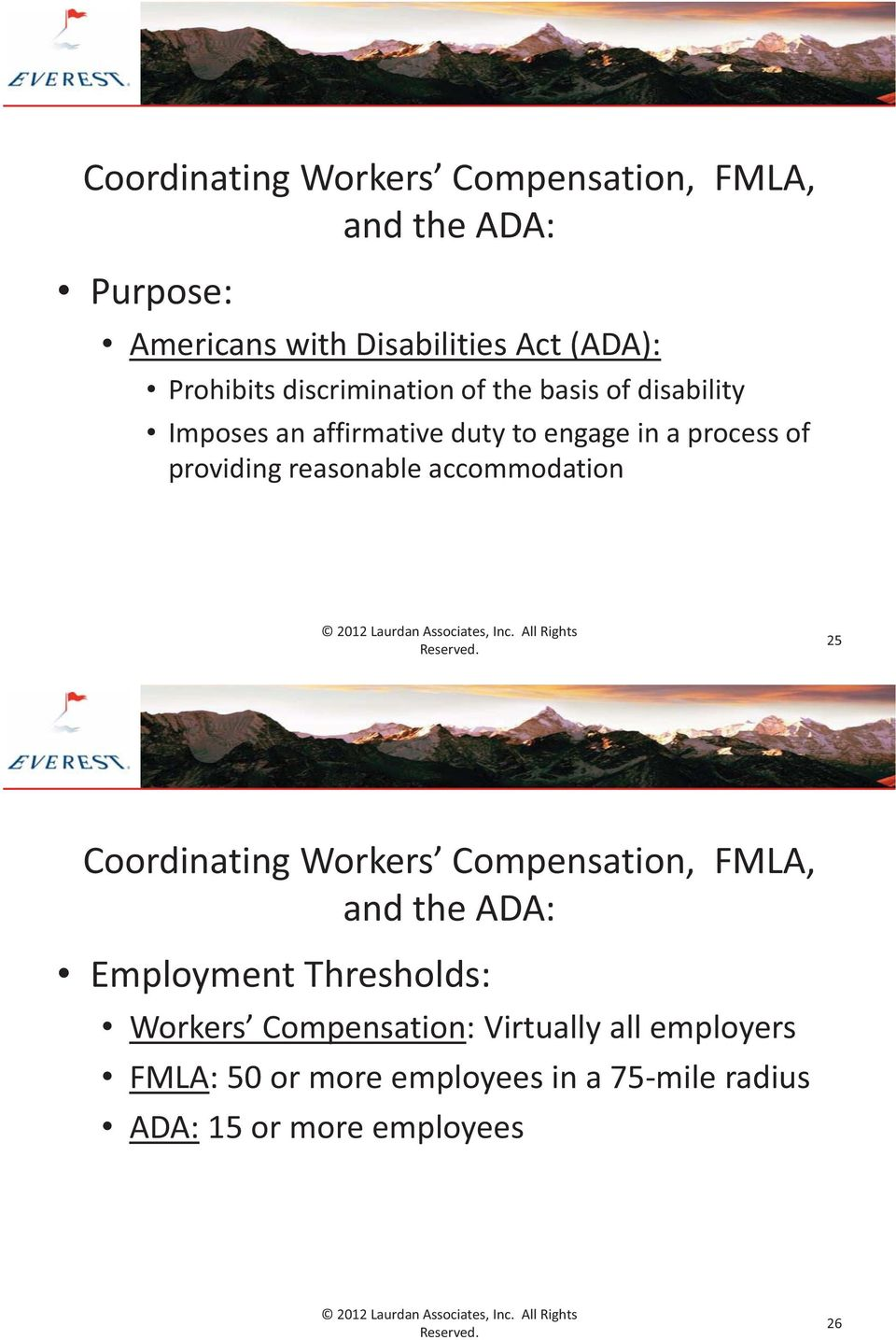 providing reasonable accommodation 25 Coordinating Workers Compensation, FMLA, and the ADA: Employment