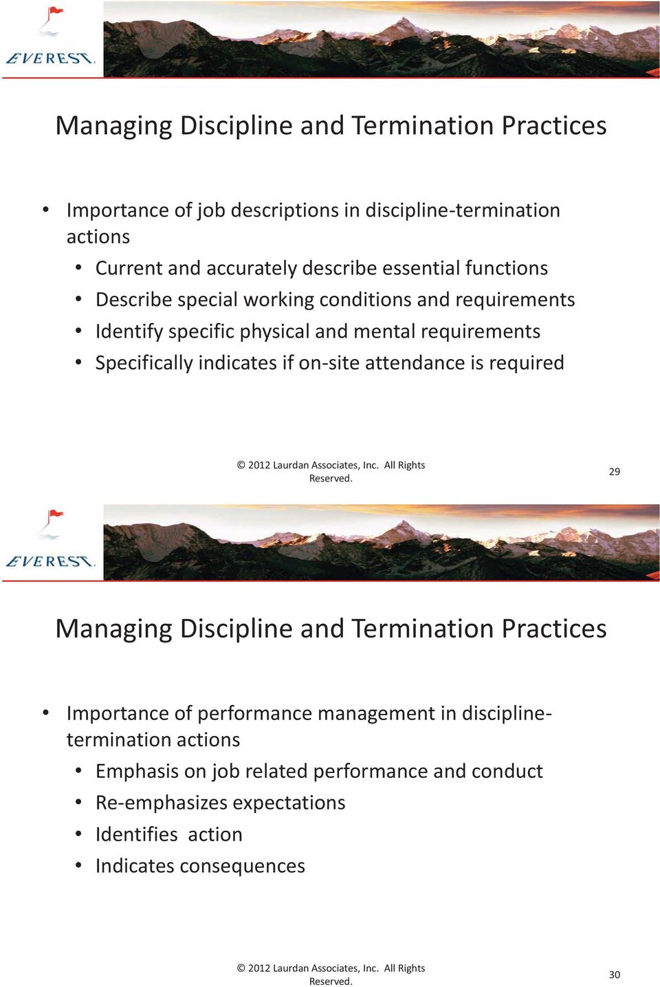 Specifically indicates if on-site attendance is required 29 Managing Discipline and Termination Practices Importance of performance