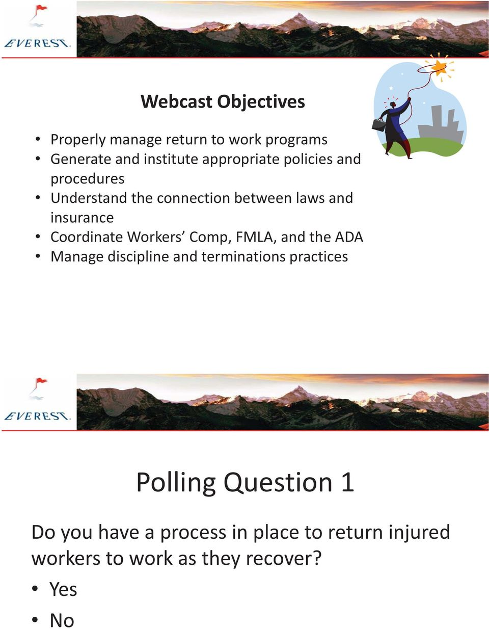 Coordinate Workers Comp, FMLA, and the ADA Manage discipline and terminations practices