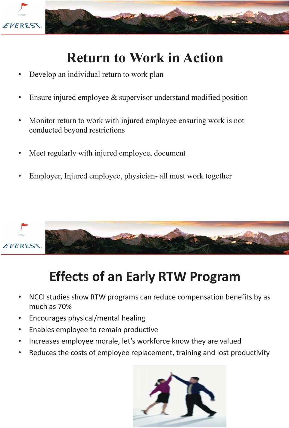 work together Effects of an Early RTW Program NCCI studies show RTW programs can reduce compensation benefits by as much as 70% Encourages physical/mental healing