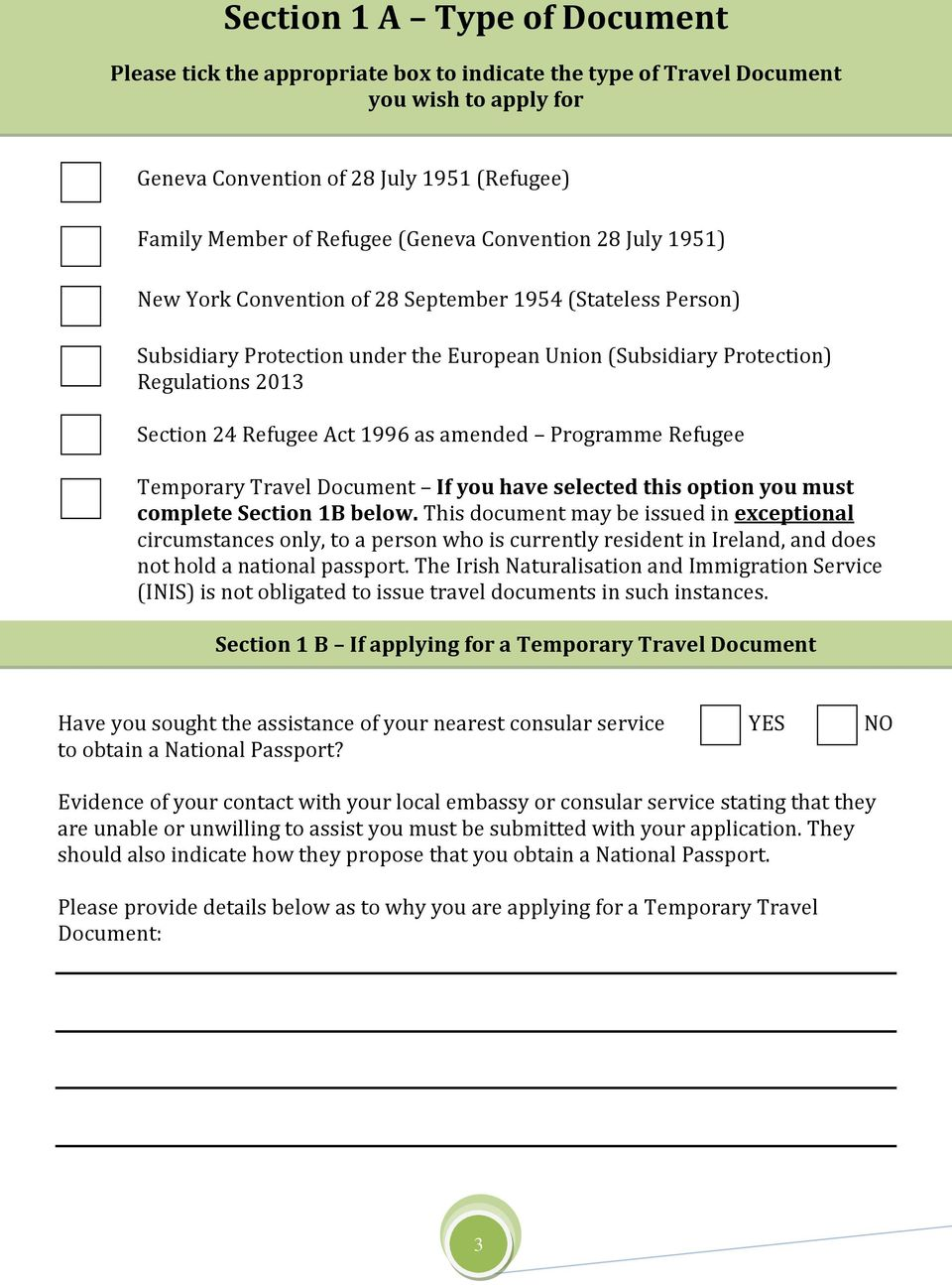1996 as amended Programme Refugee Temporary Travel Document If you have selected this option you must complete Section 1B below.