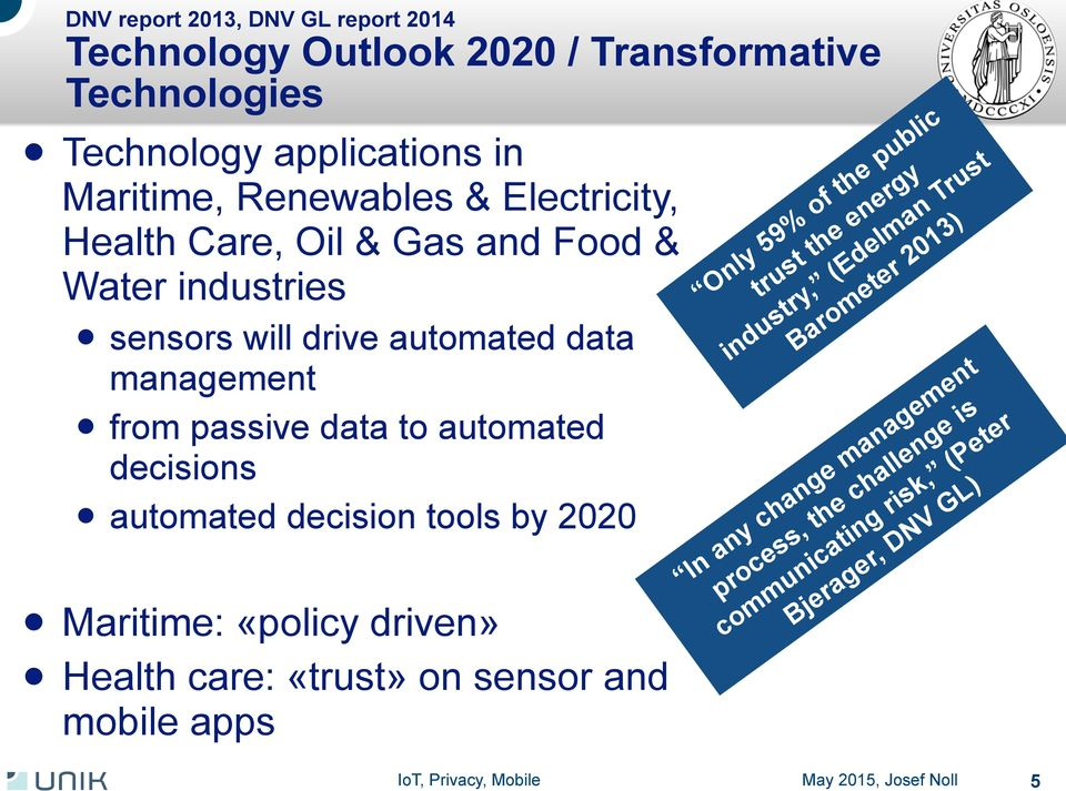 decisions l automated decision tools by 2020 l Maritime: «policy driven» l Health care: «trust» on sensor and mobile apps Only 59% of the public