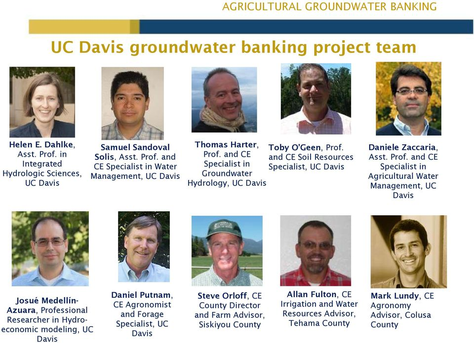 and CE Specialist in Agricultural Water Management, UC Davis Josué Medellín- Azuara, Professional Researcher in Hydroeconomic modeling, UC Davis Daniel Putnam, CE Agronomist and Forage