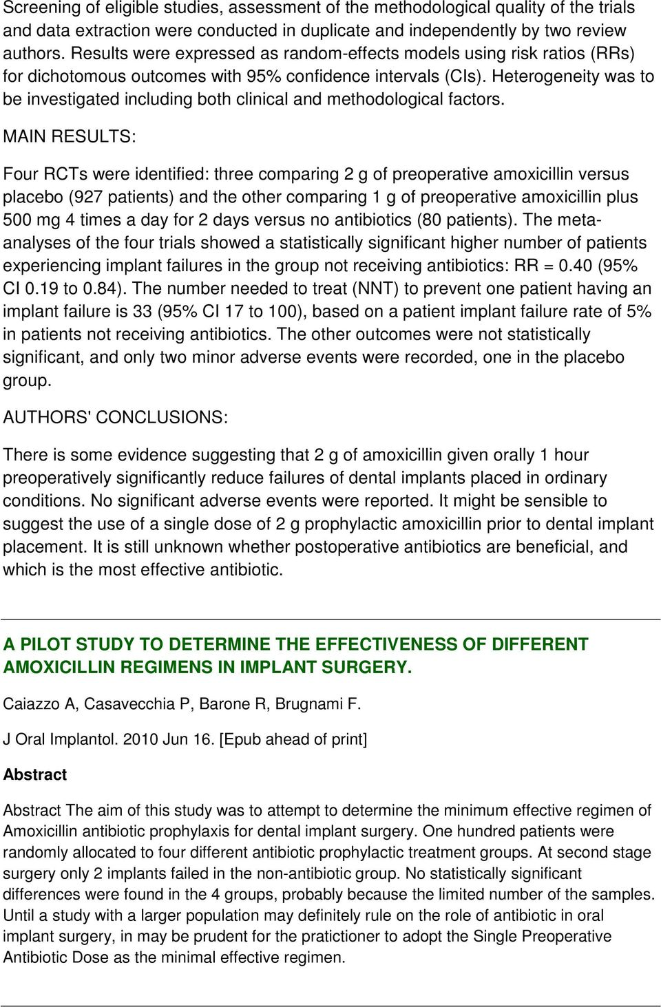 Antibiotic Prophylaxis And Early Dental Implant Failure A Quasi