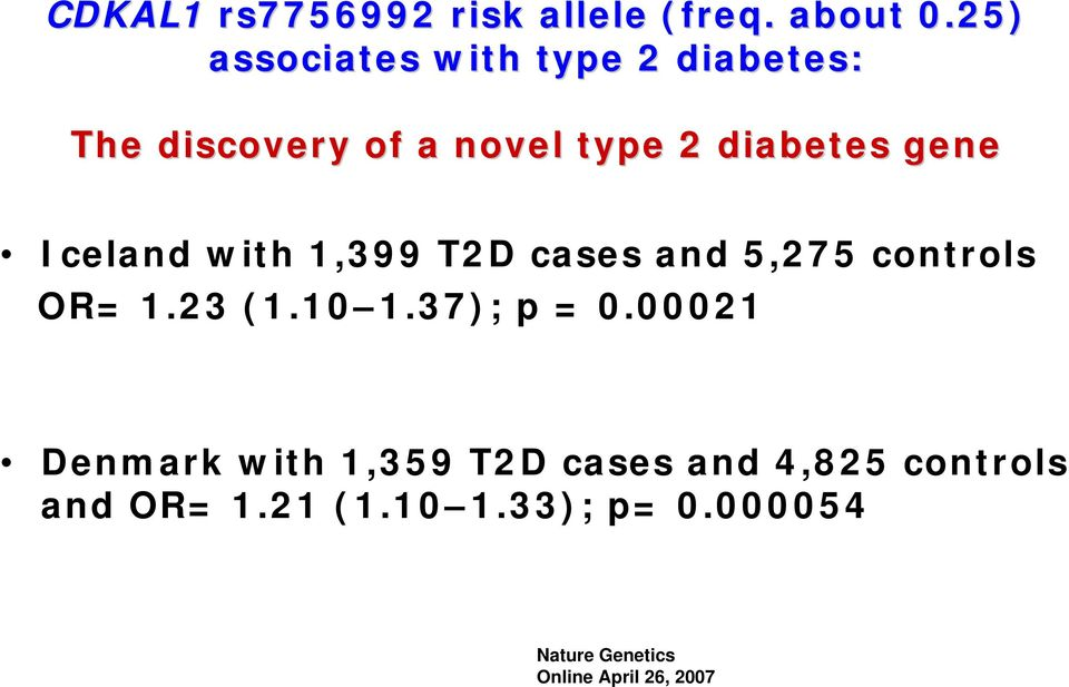 Iceland with 1,399 T2D cases and 5,275 controls OR= 1.23 (1.10 1.37); p = 0.