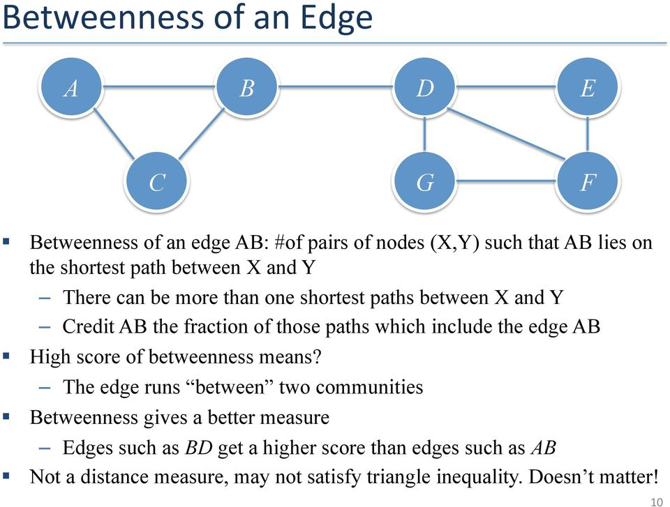 the edge AB High score of betweenness means?