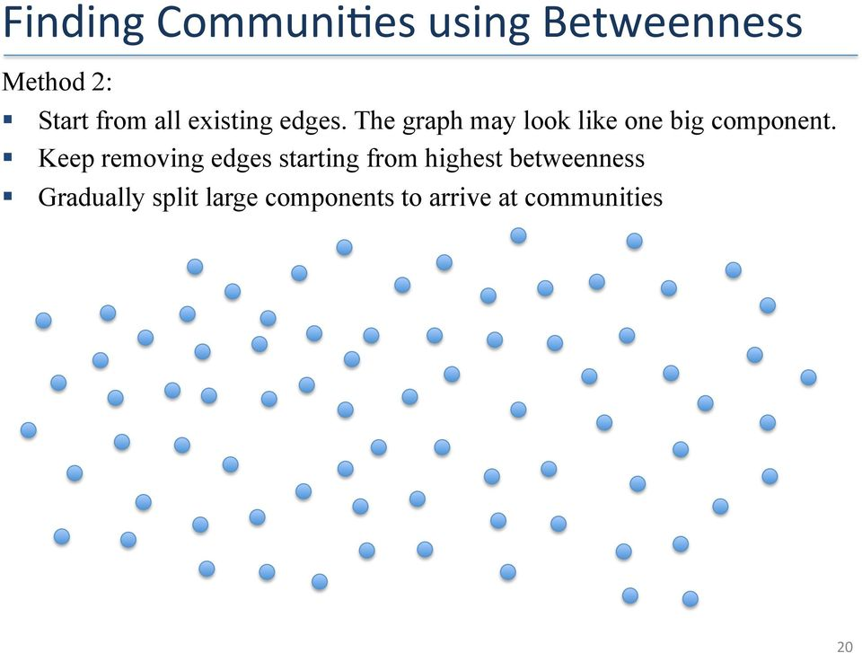 The graph may look like one big component.