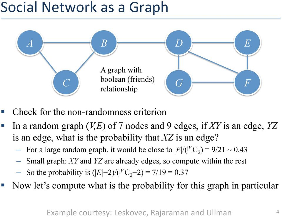 For a large random graph, it would be close to E /( V C 2 ) = 9/21 ~ 0.