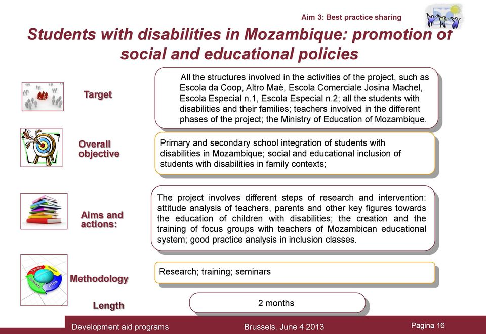 2; all the students with disabilities and their families; teachers involved in the different phases of the project; the Ministry of Education of Mozambique.