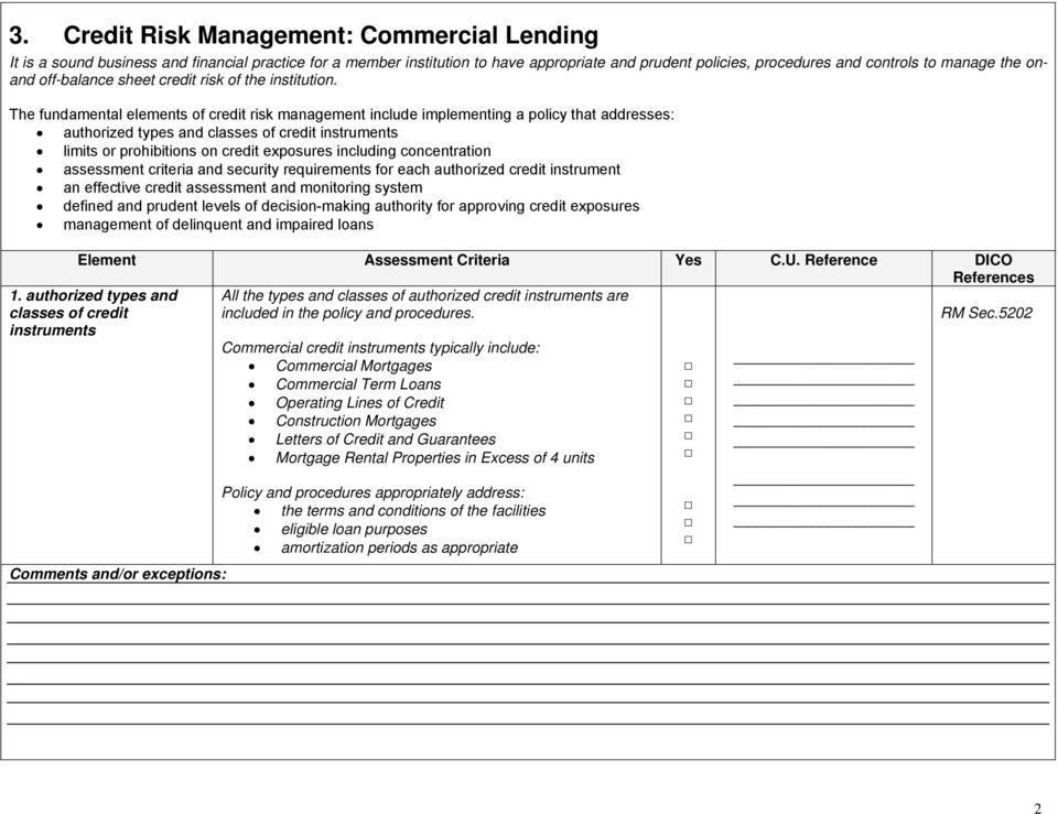 The fundamental elements of credit risk management include implementing a policy that addresses: authorized types and classes of credit instruments limits or prohibitions on credit exposures