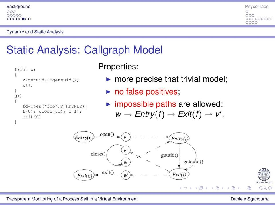 close(fd); f(1); exit(0) } Properties: more precise that trivial