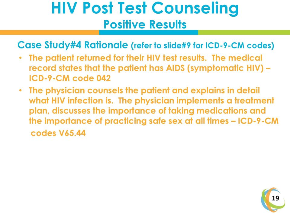 The medical record states that the patient has AIDS (symptomatic HIV) ICD-9-CM code 042 The physician counsels the patient