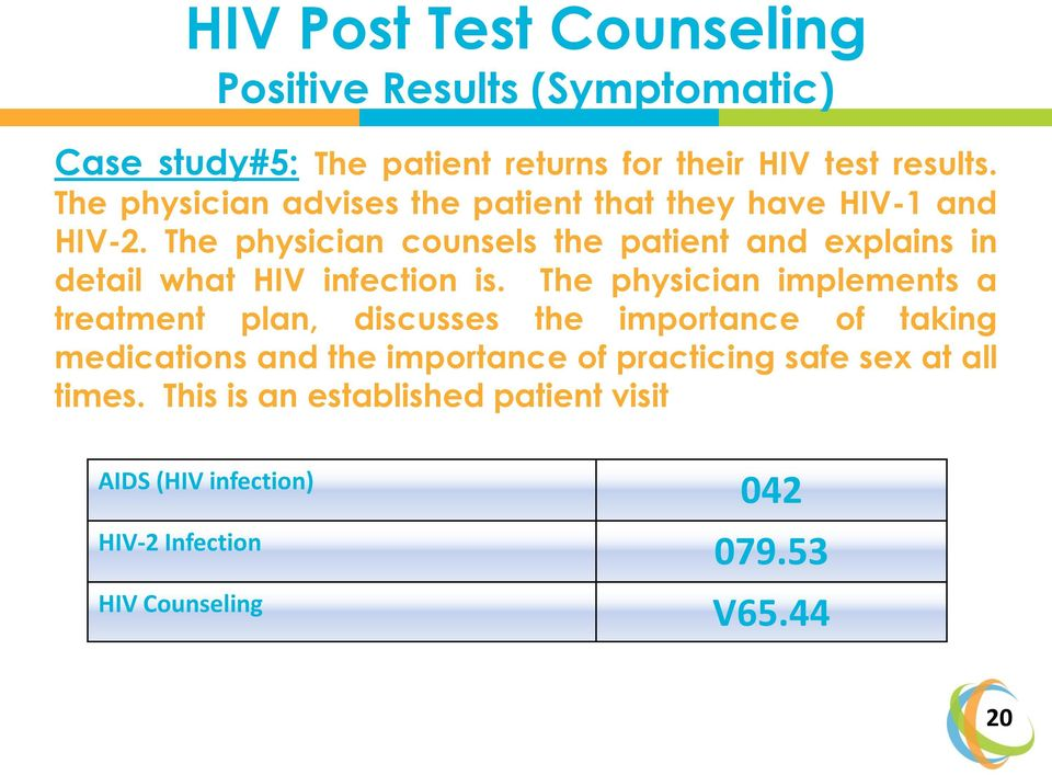 The physician counsels the patient and explains in detail what HIV infection is.