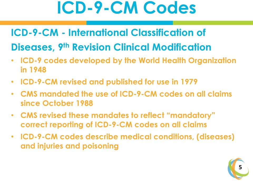 use of ICD-9-CM codes on all claims since October 1988 CMS revised these mandates to reflect mandatory correct