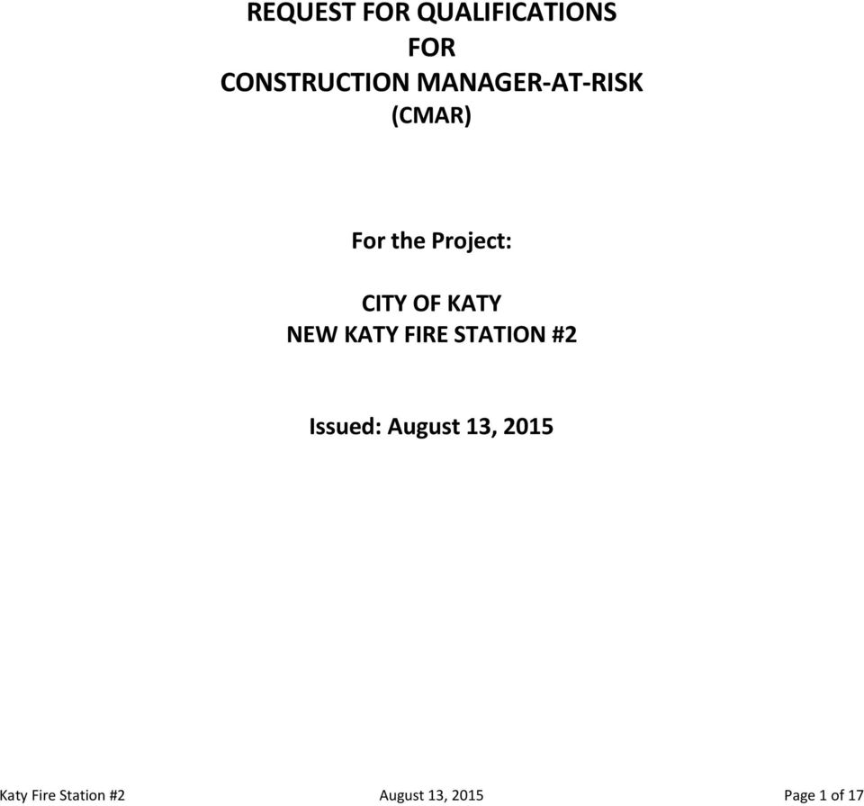 KATY NEW KATY FIRE STATION #2 Issued: August 13,