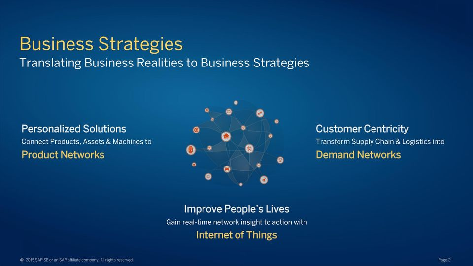 Chain & Logistics into Demand Networks Improve People s Lives Gain real-time network insight to