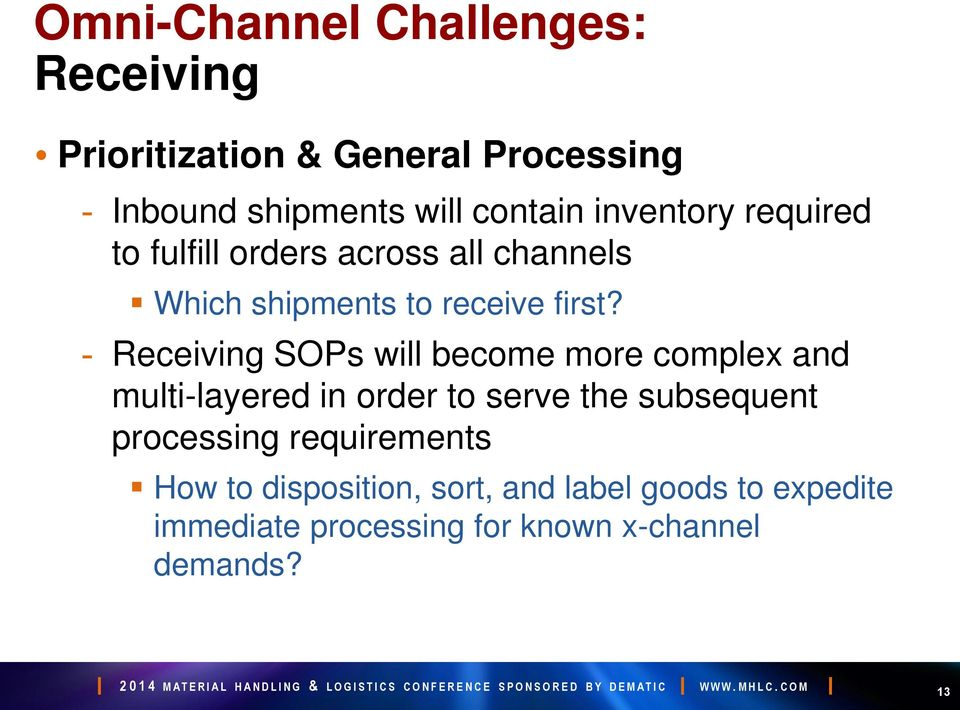 - Receiving SOPs will become more complex and multi-layered in order to serve the subsequent processing