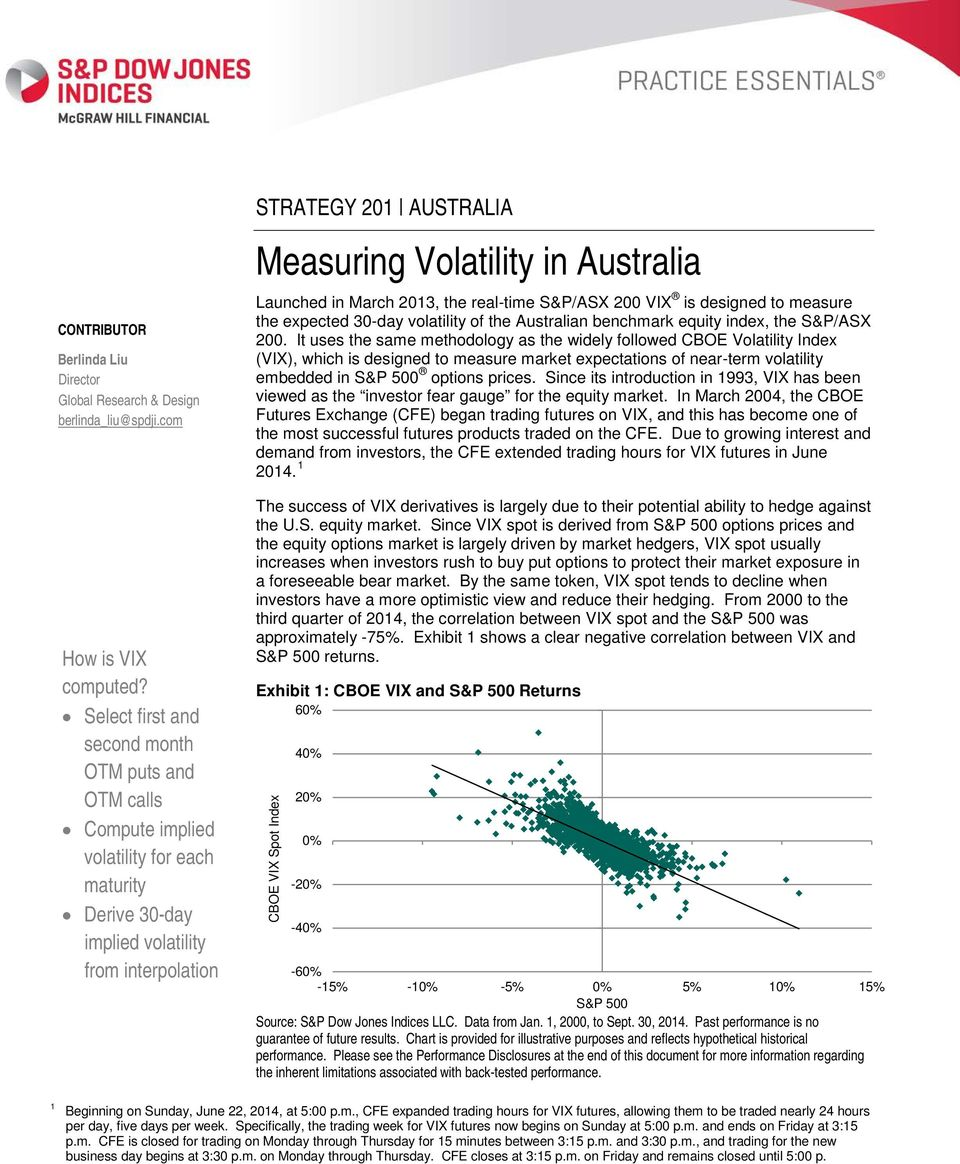 Australia Launched in March 2013, the real-time S&P/ASX 200 VIX is designed to measure the expected 30-day volatility of the Australian benchmark equity index, the S&P/ASX 200.
